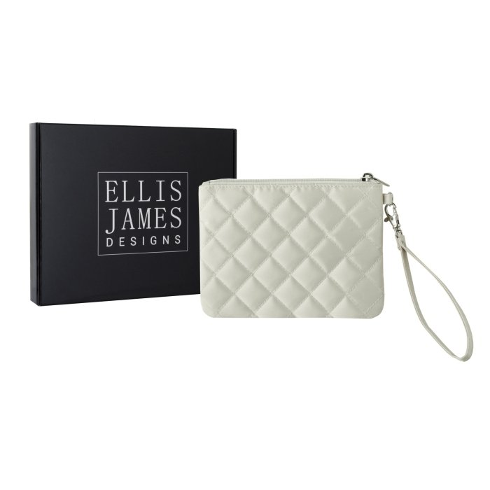 Cream Wristlet Glam Bag