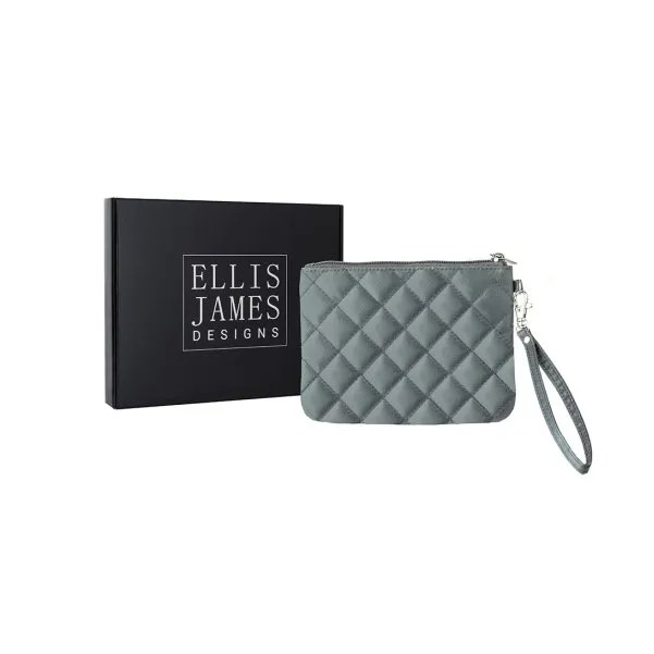 Grey Wristlet Glam Bag