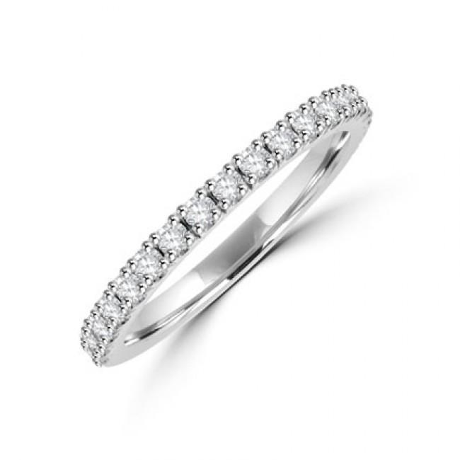Platinum 19 Stone Diamond Castle Set Wedding Ring
