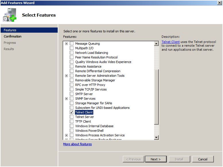 Adding Telnet Client in Windows 2008