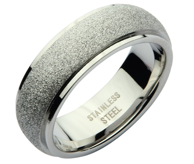 Mm Stainless Steel Silver Sparkle Wedding Ring Band