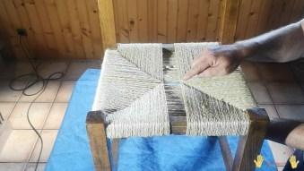 asiento a medio tejer