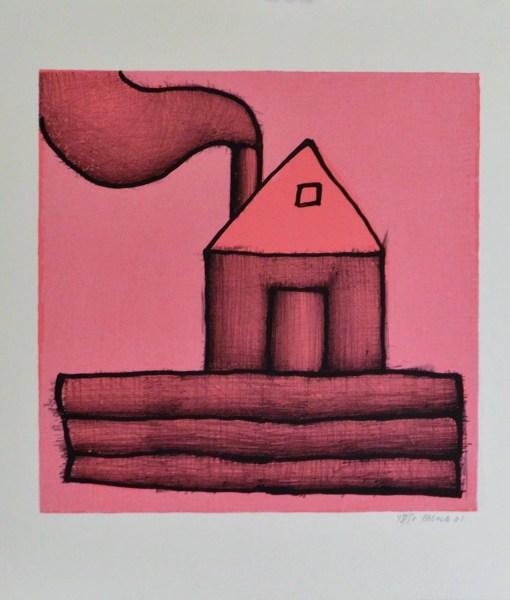 """Javier Pagola – """"Casa rosa con chimenea"""" serigrafía – El Marco Verde ..."""