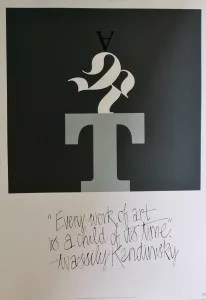Art IBM, firmado, con frase de Wassily Kandinsky, 84x60 cm