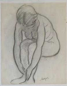 Mozos Pedro, dibujo carboncillo papel 26,50x21 y marco 46x36 cms. mujer sentada 400 (3)