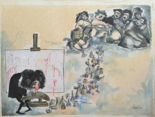 Serafín, Velazquez, acuarela papel, enmarcado, dibujo 50×64 cms. y marco 62×77 cms (2)
