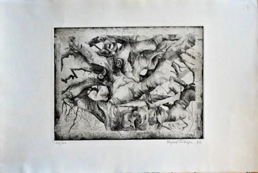 Fábrega Raquel, composición, grabado, edición 60 ejemplares, numerado y firmado a lápiz, plancha 24,50×32,50 cms. y papel 38×56 cms (2)