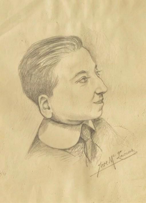 Lacruz Jose María, Retrato de joven estudiante, dibujo lápiz papel, enmarcado, dibujo 27×20,50 cms. y marco 42×32 cms. (2)