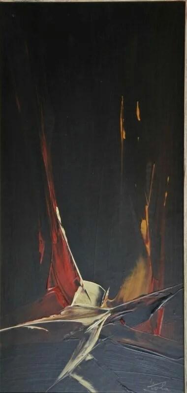 Viola Manuel, Salto nocturno, pintura técnica mixta tablex, enmarcado, pintura 68×33 cms. y marco 85×49 cms. (11)