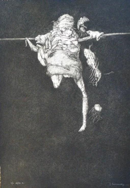Hernandez José, Bacanal, el colgado, grabado aguafuerte, edición 00 ejemplares, numerado y firmado a lápiz, 45×32 cms (21)
