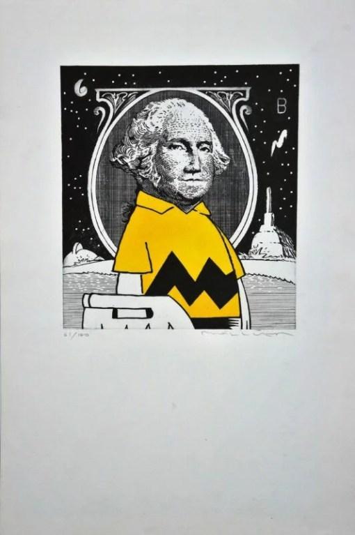 Bellver Fernando, Carlitos dólar, grabado, edición 100 ejemplares, numerado y firmado a lápiz, plancha 00×00 cms y papel 00×00 cms. (1)