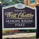 Hand carved township sign with 23-karat gold leaf- West Chester Borough