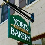 HDU Bakery sign with carved text and raised rolling pin- West Chester, PA