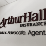 Arthur Hall Insurance Dimensional Letter Reception Sign