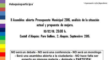 Alaquàs Participa convoca una nueva asamblea abierta sobre Presupuesto Municipal