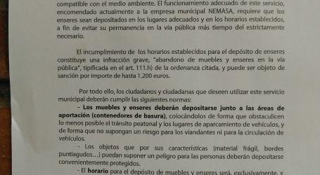 Mislata recuerda las sanciones por incumplir los horarios de la recogida de muebles