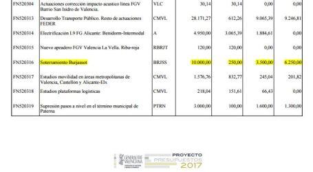 La Generalitat destina 10 milions al soterrament del metro a Burjassot