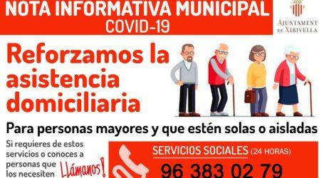 Xirivella refuerza la asistencia domiciliaria y la atención psicológica por teléfono