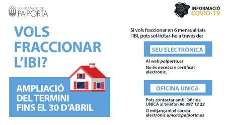 L'Ajuntament de Paiporta amplia el termini per a fraccionar el pagament de l'IBI en sis mensualitats