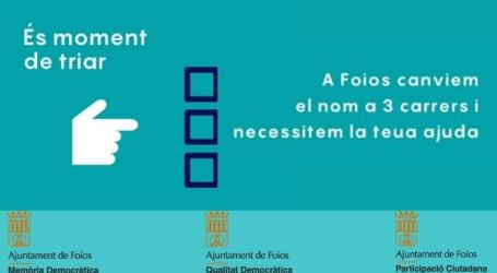 Foios canvia el nom de tres carrers mitjançant la participació ciutadana