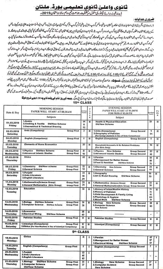 Date Sheet BISE Multan for 9th and 10th Examination