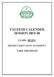 7th class taleemi calender 2019-20
