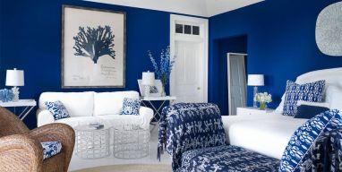 احدث ديكورات صالات وغرف بالأزرق