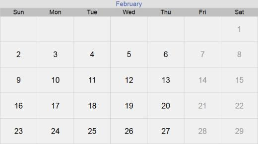 تقويم شهر فبراير 2020 التقويم الميلادي لشهر (2) شباط 2020 بالإجازات