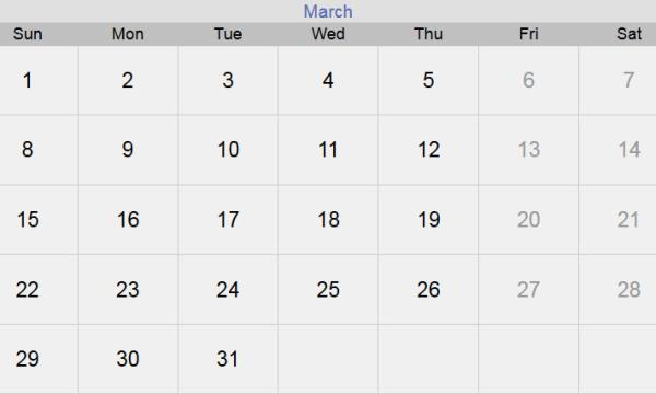 تقويم شهر مارس 2020 التقويم الميلادي لشهر (3) آذار 2020 بالإجازات