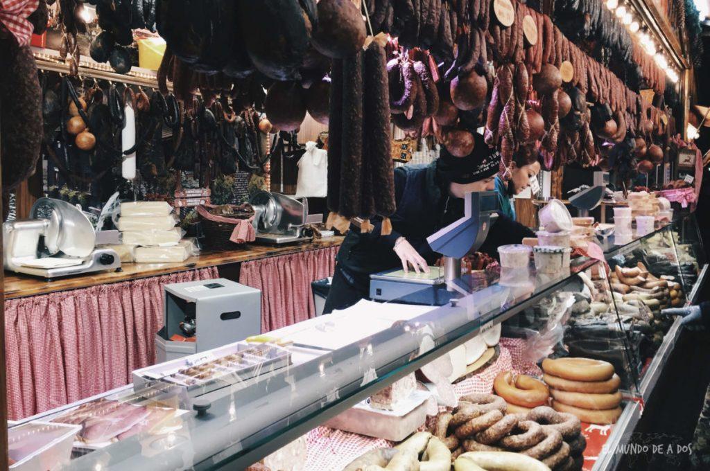 mercados de navidad en alemania. salames