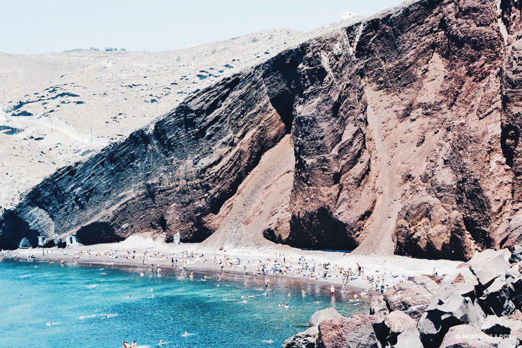 Playa roja. Que ver en Santorini en 3 días