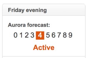 Pronóstico de la aurora. Predicción de auroras boreales en Islandia