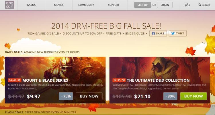 GOG 2014 DRM-Free Big Fall Sale