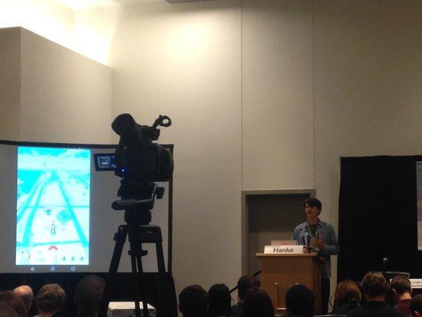 John Hanke, CEO of developer Niantic, demoing the Pokémon GO app.