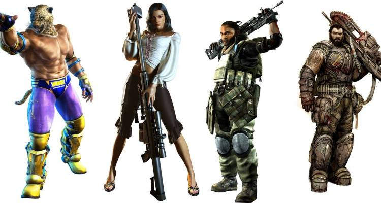 A few examples of Latinx video game characters. From left to right: King from Tekken, Isabela Keys from Dead Rising, Dominic Santiago from Gears of War, Rico Velasquez from Killzone.