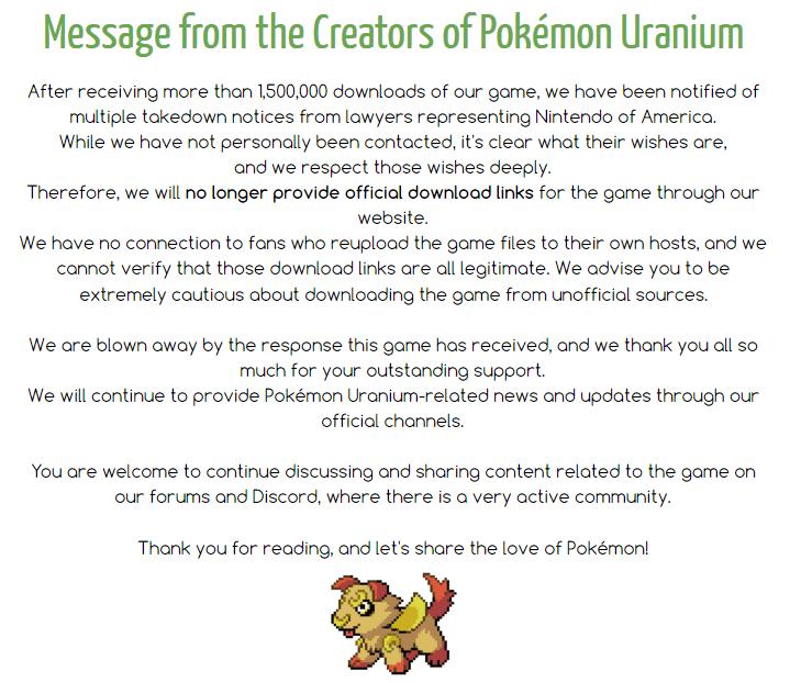 Pokémon Uranium developers remove game after receiving takedown notices