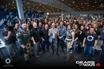 Gears of War 4 Dev Team The Coalition, with Microsoft CEO Sanya Nadella