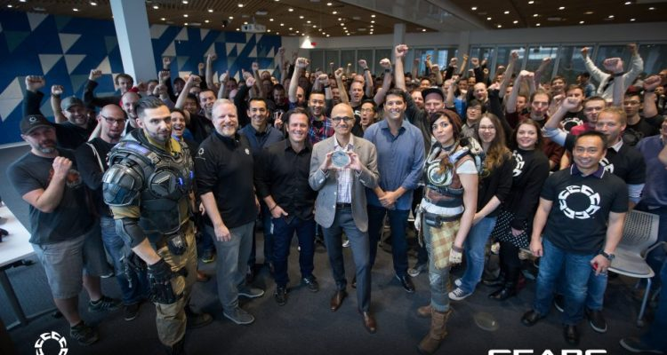 Gears of War 4 Dev Team The Coalition, with Microsoft CEO Sanya Nadella
