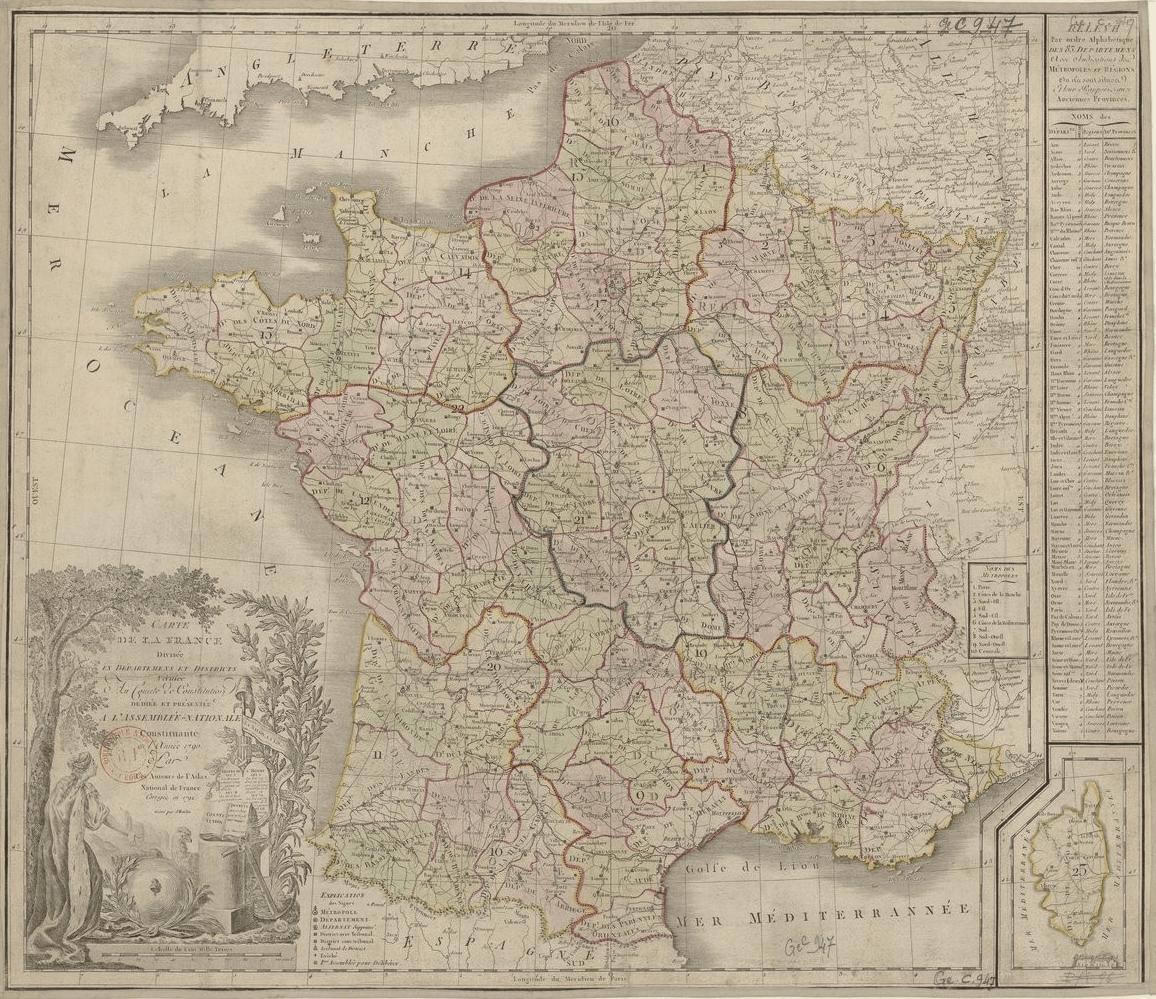 Mapa de França. Divisió administrativa aprovada per l'Assemblea Nacional (1792). Font Bibliothèque National de France