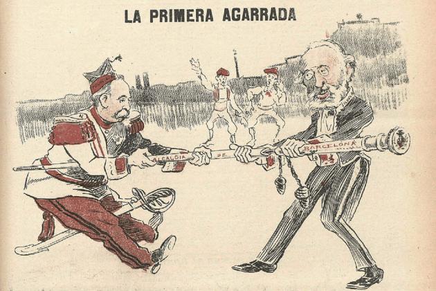 Dimiteix el Dr. Robert, l'alcalde del Tancament de Caixes. Caricatura que representa Polavieja i Robert, publicada a la revista satírica Gedeón (Madrid, 1899). Font Biblioteca Nacional de España