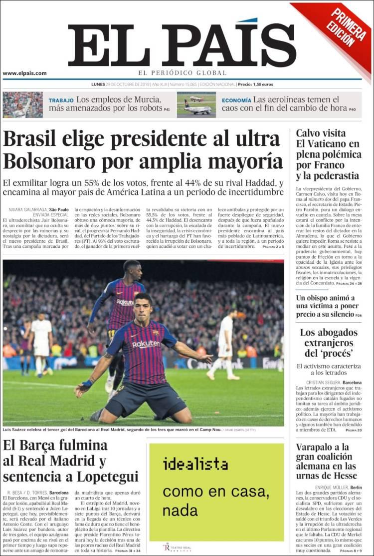 El País Portada 29 10 2018