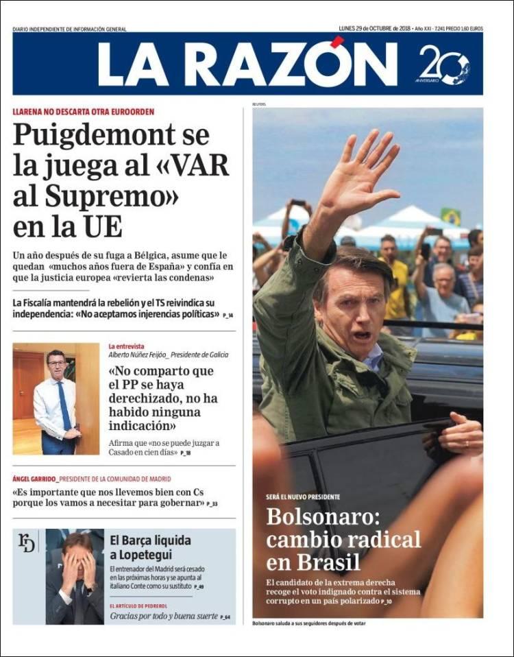 La Razón Portada 29 10 2018
