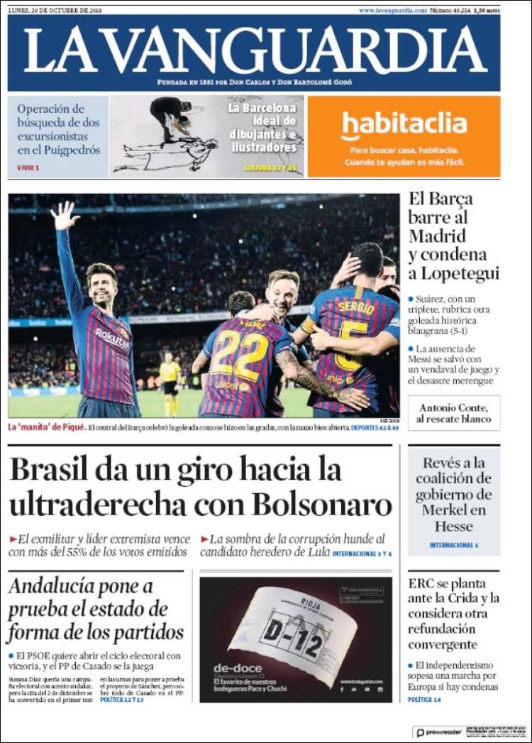 La Vanguardia Portada 29 10 2018