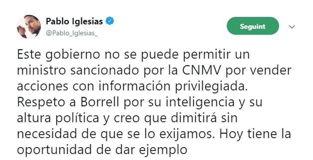 Captura tuit Iglesias