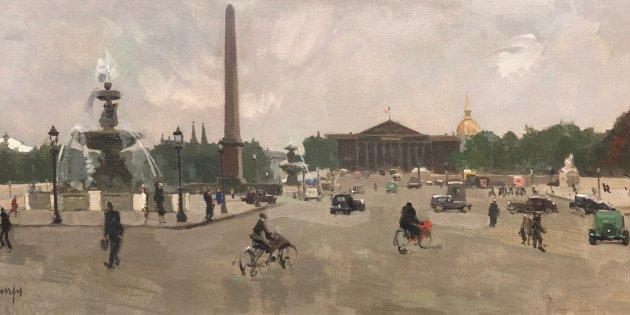 Rafael Durancamps (1891 1979) Place de la Concorde París Oli sobre tela 35x80 cm Contacte