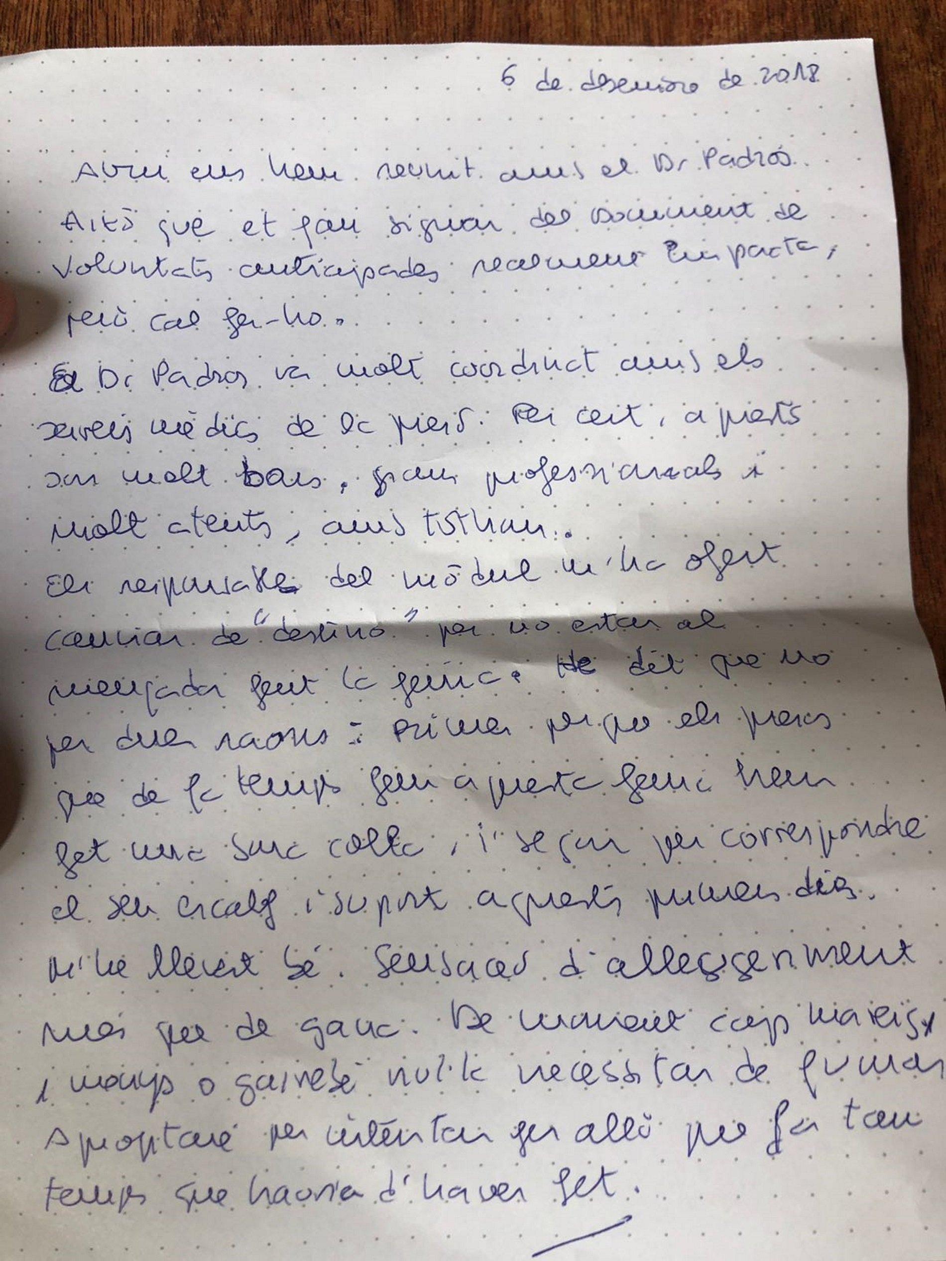 Turull manuscrit Lledoners 6 desembre 2018