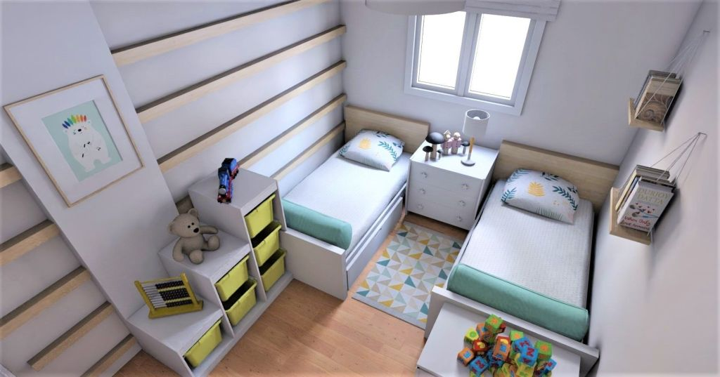 dormitorio infantil pequeño con dos camas