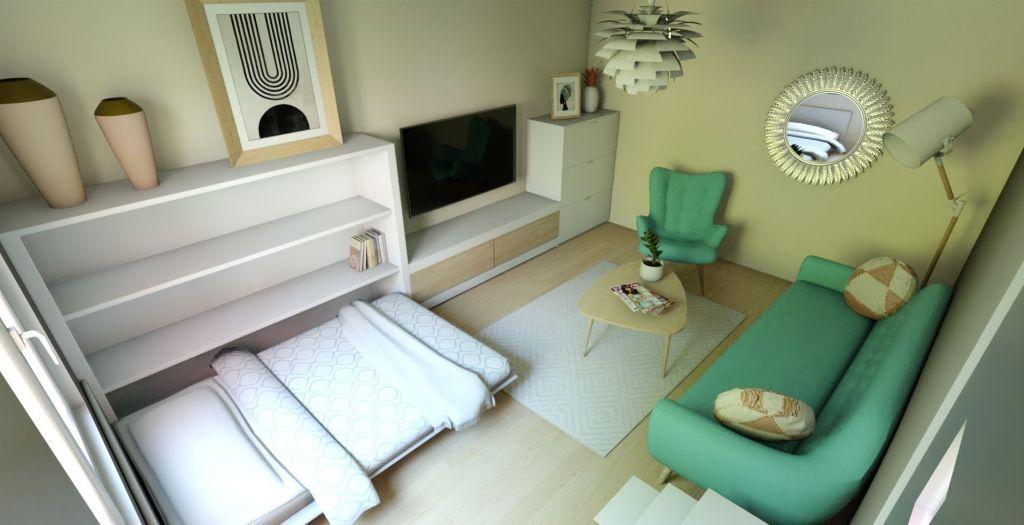 Diseño de estilo nórdico para un salón con cama abatible de matrimonio