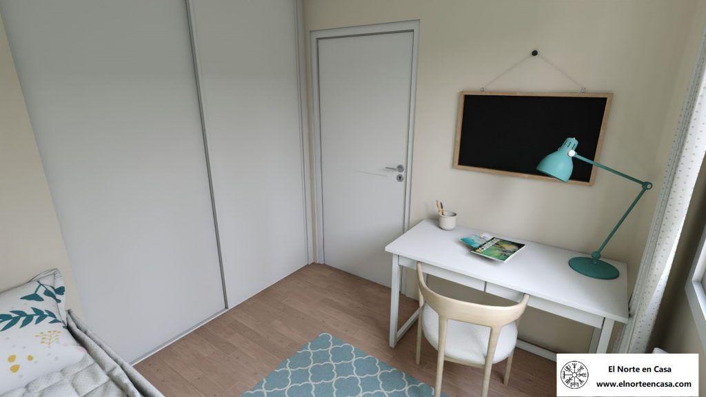Habitación juvenil pequeña de inspiración nórdica