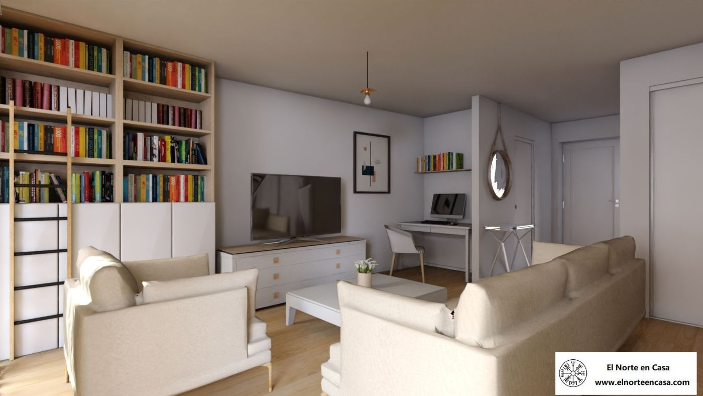 Salón con muebles de estilo nórdico